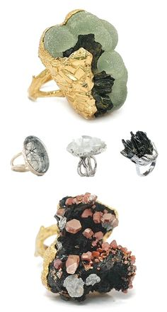 Top ring: green Prehnite with black Tourmaline (Schorl), next 3 rings: Quartz with inclusions of Schorl, Clear Quartz( called Rock) Gems Jewelry, Crystal Jewelry, Jewelry Art, Gemstone Jewelry, Jewelry Accessories, Jewelry Design, Fashion Jewelry, Fashion Accessories, Jewelry Bracelets
