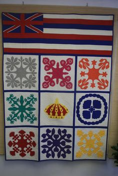 I Really Like This One....Hawaiian Flag, Crown and Flowers representing the 8 Islands of Hawaii