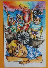 Hanna G. Chomenko. Trece piezas de pequeño formato (elaboradas con plumilla y acuarela) y un gran lienzo inspirado en el libro La ciudad de las columnas, componen la exposición