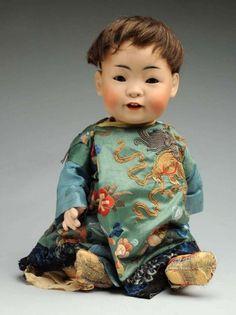 """18.5"""" bisque """"oriental"""" Asian baby doll, Germany, 1912. by Johann Daniel Kestner."""