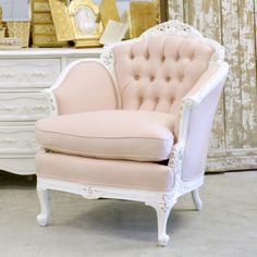 Shabby Cottage Chic Tufted Mauve Armchair White by TheBellaCottage