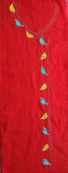 Embroidery On Kurtis, Kurti Embroidery Design, Hand Embroidery Dress, Embroidery Neck Designs, Hand Embroidery Videos, Embroidery Motifs, Embroidery Suits, Silk Ribbon Embroidery, Embroidery Ideas