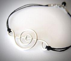 Treble Clef bracelet sterling treble music by JewelryByMaeBee