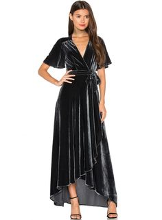 this fashionable dress is featuring v neckline, short sleeve, self tie belt, solid color and high low hem. it suitsfor daily wear and special occasion like wedding party, holiday party, ceremony, birthday party, pageant etc.;polyester and spandex, comfort