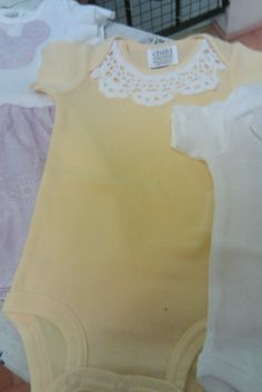 Lace Onesies: quick, easy, sweet gift! I think lace will be Emi Lou's main accessory.