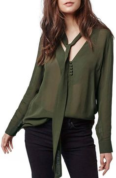 Topshop Chiffon Tie V-Neck Blouse available at #Nordstrom