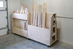 Finding a place to store lumber and sheet goods can be challenging. This lumber cart keeps them all organized with shelves to store long boards, upright bins for shorter pieces, and a large area to hold sheet goods. Plus, the cart rolls, so you can push it wherever you need to in your work space.
