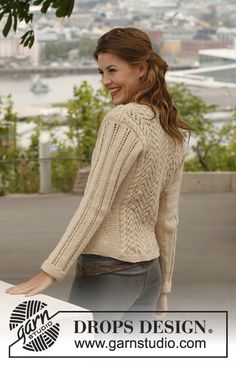 "Free pattern, charts and written instructions. Knitted DROPS jacket with cables and lace pattern in ""Lima"". Size: S - XXXL. Drops Design, Knit Cardigan Pattern, Sweater Knitting Patterns, Free Knitting, Drops Patterns, Lace Patterns, Pull Torsadé, Knit Jacket, Cardigans For Women"