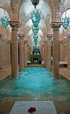 Hotel Riad Spa in Marrakech with aqua lighting and pool, Morocco | Cynthia Reccord
