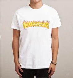 639fa98f Homosexual Fire Flames Thrasher Paerody T-Shirt