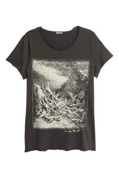 T-shirt with a print - Dark grey/Angel - Men | H&M GB