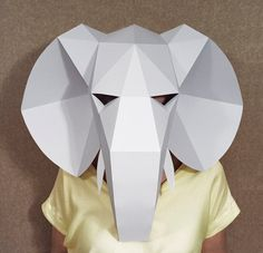 Elephant head mask DIY Paper creation PDF pattern printable mask Animal head Best Costume Make your own Papercraft Party costume
