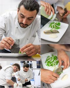 A recipe to love…  Sautéed bream fillet with rocket salad, roasted calamari and basil pesto sauce… (Really, you have to try it!)    by Kyriakos Pasvantoglou,   Chef of  San Antonio Hotel