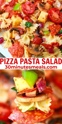 Pizza Pasta Salad is a light and fresh pasta dish packed with all the flavors of a supreme pizza. #pastasalad #salad #pizzasalad #pasta #easyrecipe #30minutesmeals Creamy Pasta Recipes, Vegetarian Pasta Recipes, Best Pasta Recipes, Chicken Pasta Recipes, Easy Delicious Recipes, Easy Salad Recipes, Easy Salads, Amazing Recipes, Easy Meals