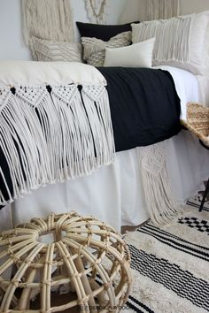 Dorm season is finally here. We are so excited to launch these gorg dorm bedding designs we have been working on for months. This season we're seeing tons of pattern (think palm), texture, macrame, and unexpected fabrics. Of course, neutrals are always a good idea. Dorm Room Headboards, Dorm Room Bedding, Teen Bedding, Dorm Bed Skirts, Twin Xl Bedding Sets, Cute Dorm Rooms, Bed Design, Room Style, Room Organization