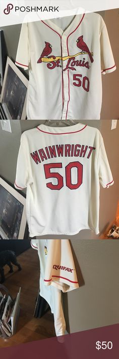 St Louis cardinals jersey xl Very good condition St. Louis Cardinals hundred percent polyester machine washable Wainwright jersey. Price on the Internet new for $120 and up this is a steal for the baseball season for $50 Tops Button Down Shirts