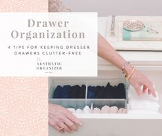 Drawer Organization - 4 Tips for Keeping Dresser Drawers Clutter-Free #drawerorganizers #drawerorganization #filefoldmethod #colorcordinating #dresserideas #whitedresser #moderndresser Dresser Organization, Wardrobe Organisation, Linen Closet Organization, Small Space Organization, Organization Hacks, Organizing, Beautiful Closets, Small Space Solutions, Kids Play Area