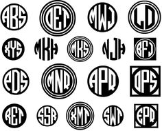 Circle Monograms Font - This set of 4 fonts let you create custom and monograms, against a black or white background, with a choice of decorative frames. A classic monogram style! Circle Monogram Font Free, Cricut Monogram Font, Vine Monogram Font, Circle Font, Cricut Fonts, Monogram Design, Monogram Letters, Fonts For Monograms, Cricut Vinyl
