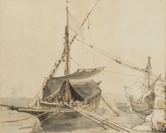 "Claude-Joseph Vernet(1714-1789),   ""A Xebec at anchor unloading its cargo"".   Pen and ink, grey wash and touches of watercolour laid on album card"