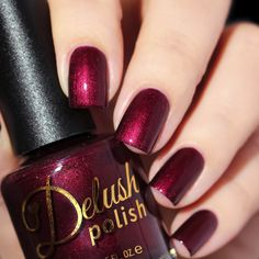 "Delush Polish ""Poisoned Vine"" (inspired by Joffrey Baratheon) A blackened vampy red, gleaming with a suspicious inner glow, that will make you think twice about sipping on that goblet. Purple Nails, Perfect Nails, Fabulous Nails, Tips Belleza, Cool Nail Designs, Natural Nails, Christmas Nails, Pretty Nails, Hair And Nails"