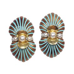 Pre-Owned Art Deco Gold & Blue Striped Earrings ($109) ❤ liked on Polyvore featuring jewelry, earrings, art deco earrings, pre owned jewelry, clip back earrings, yellow gold earrings and art deco jewelry