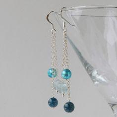 Teal blue dangle silver earrings (pearl, fluorite, apatite) £15.00
