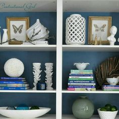 Paint desk and bookcase white with blue back panels. Complimentary to the Behr zen wall color.