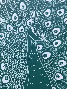 This is an open edition original hand pulled Linocut Print of a Peacock in Green. The print is taken from one of my hand drawn designs which has been transferred and then carved in to a sheet of Art Linoleum using specialist tools. The carved surface is then rolled with ink using