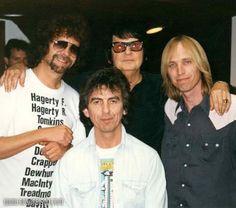 Jeff Lynne, George Harrison, Tom Petty and Roy Orbison Tom Petty, Roy Orbison, George Harrison, Bob Dylan, Beverly Hills, Liverpool, Jeff Lynne Elo, Travelling Wilburys, Travel Music