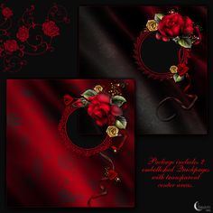 Moonbeam's Drama Roses is a digitally painted dramatic Rose collection created with bright red Roses accentuated with gold and red ribbon roses, glitters and swirls.