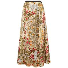 RED Valentino Floral-embroidered Tulle Midi Skirt (66,635 INR) ❤ liked on Polyvore featuring skirts, tulle midi skirts, red valentino, tulle skirts, beige midi skirt and midi skirt