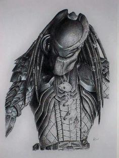 Predator pencil drawing by Louie Diaz