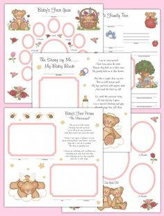 Angel Teddy Bear Premade Scrapbook Pages Baby Girl First Year #decampstudios