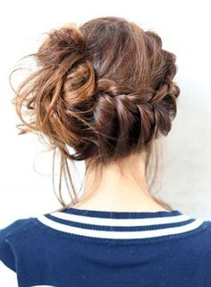 Photo: messy french braid bun Categories: Hair & Beauty Added: Description: messy french braid bun is creative inspiration for us. Get more photo about Hair & Beauty related with messy french braid bun by looking at photos gallery at the bottom of. Pretty Hairstyles, Braided Hairstyles, Wedding Hairstyles, Braided Updo, Messy Updo, Messy Buns, Updo Hairstyle, Hairstyle Tutorials, Wedding Upstyles
