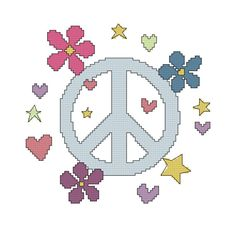Peace Sign Cross Stitch Pattern with Hearts by threadsandthings1, $4.00