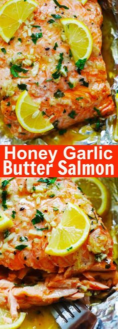 Honey Garlic Butter Salmon - easy and quick baked salmon dinner that takes only 10 minutes active time and 15 minutes in the oven. Foil-wrapped baking means there is no dish to wash | rasamalaysia.com