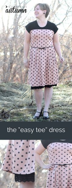 learn to sew this cute retro-inspired dress from a free t-shirt pattern! easy too - no zippers, buttons, or set in sleeves! perfect for summer.