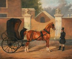 Between 1820 and 1830.                       A Cabriolet: Gentlemen's Carriages.   By Charles Hancock, 1802–1877, British.   Oil on canvas,  Yale Center for British Art, Paul Mellon Collection