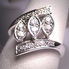 Antique Diamond Wedding Ring Vintage Art Deco Retro 14K via Etsy