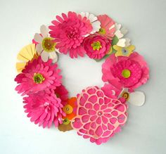 Paper Floral Wreath-Pink Passion