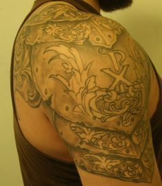 Armor tattoo, shoulder tattoo