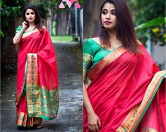 This saree is the perfect choice for when you want to stand out and showcase India's tradition at any special occasion. This can also be the perfect wedding gift for a loved one as well! Gift Packing Also available. Green Saree, Pink Saree, Bright Purple, Pink And Green, Cotton Silk, Perfect Wedding, Special Occasion, Sari, Blouse
