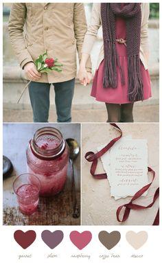 Color Palette: Garnet and Plum Winter Wedding Color Scheme Wedding Color Schemes, Colour Schemes, Color Combos, Red Colour Palette, Color Palate, Plum Color, Winter Wedding Colors, Winter Colors, Autumn Wedding
