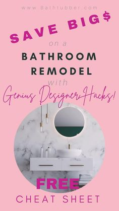 "Save thousands of dollars with these bathroom designer hacks. Get the ""8 Genius Designer Hacks"" Cheat Sheet now! Bathroom remodel on a budget diy. Bathroom remodel on a budget small. Bathroom remodel on a budget master. Bathroom renovations on a budget. #Bathroomremodelonabudget #Bathroomremodelonabudgetdiy #Bathroomremodelonabudgetsmall #Bathroomremodelonabudgetmaster #Bathroomremonvationsonabudget Small Bathroom Ideas On A Budget, Budget Bathroom, Diy On A Budget, Small Bathroom Tiles, Spa Like Bathroom, Master Bathroom, Bathtub Remodel, Diy Bathroom Remodel, Bathroom Renovations"