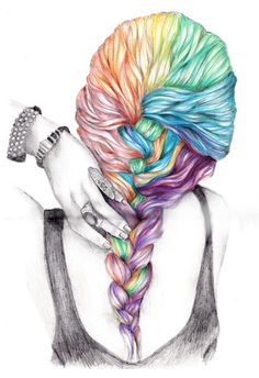 Colorful Braid drawing by KristaRaeArt on Etsy #wallartroad #sketches