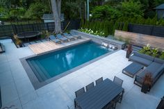 The Hardys Inground Pool Showcase The Hardys backyard space is a modern masterpiece that blends casual comfort with sophisticated design, perfect for enjoyment during day or night. Backyard Pool Landscaping, Backyard Pool Designs, Small Backyard Landscaping, Swimming Pools Backyard, Patio Design, Landscaping Ideas, Pool Decks, Garden Design, Lap Pools