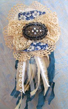 Shabby Chic Jeweled Brooch by ShabbyFeatheredNest on Etsy, $22.50