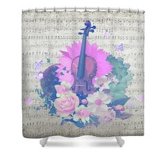 Shower curtains Violin by designer Donika Nikova  #violin #music #art #shower #curtains #floral #design #flowers #notes #musical #instrument #butterfly #butterflies #succulent #gift #idea #gifts #ideas #original #home #decor #decoration #love #interior #designer #bathroom #bath #score #orchestra #grey #pink #turquoise
