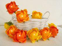 Ostern große Rosen in gelb-orange ღ Lichterkette