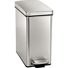 "Kitchen:  simplehuman Profile Step Can, 2.6 Gallon, Stainless Steel, 13 1/3""H x 6 2/3""W x 14 1/4""D"